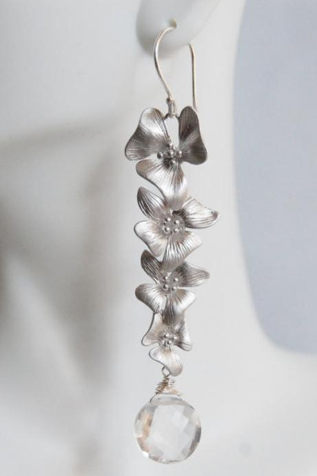 Crystal Quartz And Long Drop Flower Earrings