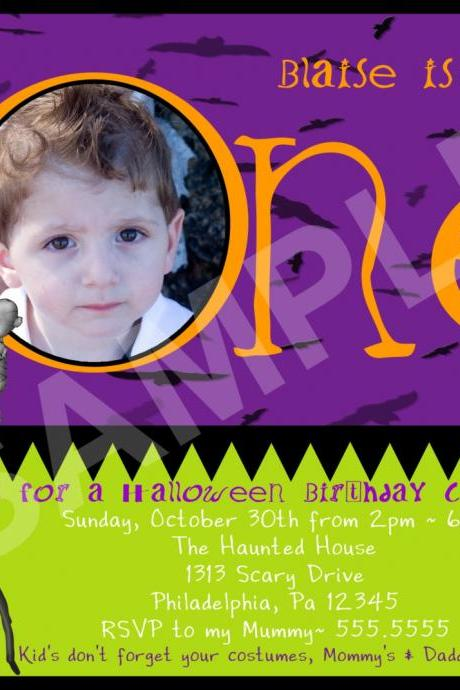 Halloween Photo 1 or 2 year Birthday Invitation (Digital File)
