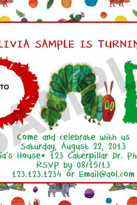 Hungry Caterpillar Birthday Photo Invitation front and back (Digital File)