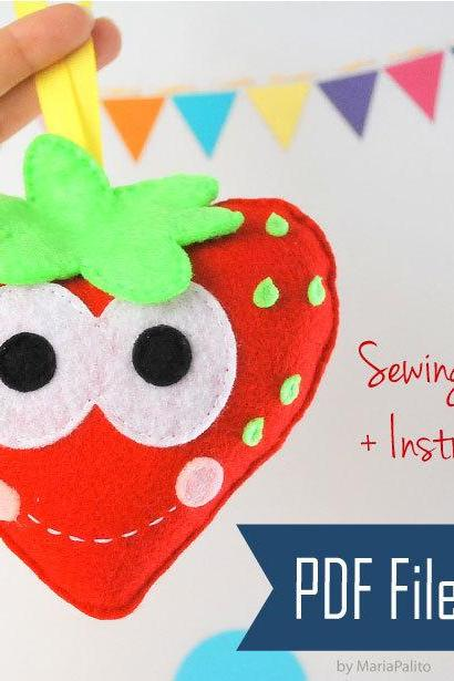 DIY Sewing Pattern, Happy Strawberries PDF Sewing pattern , Kids craft Project MariaPalito A798
