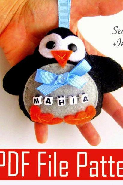 Christmas Penguin Ornament PDF Sewing pattern MariaPalito A804