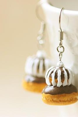 Miniature Food Jewelry - Chocolate Religieuse Earrings