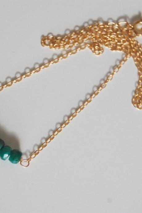 Genuine Emerald nacklace with Gold filled Chain
