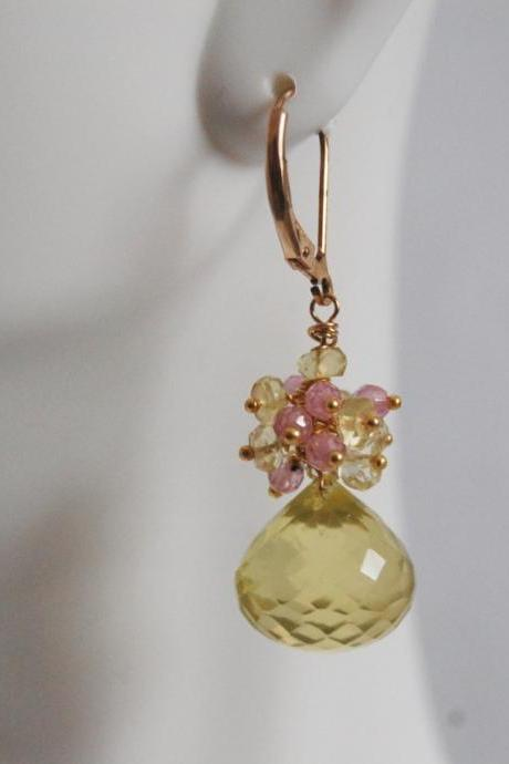 Gorgeous Lemon quartz Onion briolette dangle Earrings