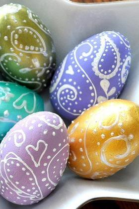Set of Five Paisley Eggs - Unique Easter Home Decor