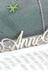 Handmade customized 925 pure silver name necklace letter necklace Birthday gift