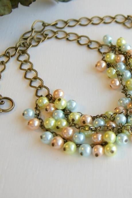 Pastel Pearls Dangle Brass Chain Necklace