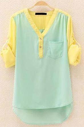 OL temperament long-sleeved shirt contrast color chiffon shirt826 A 081906