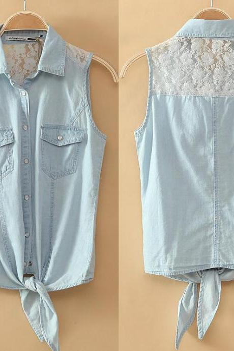 Lace stitching denim vest thin sectionAA A 080102