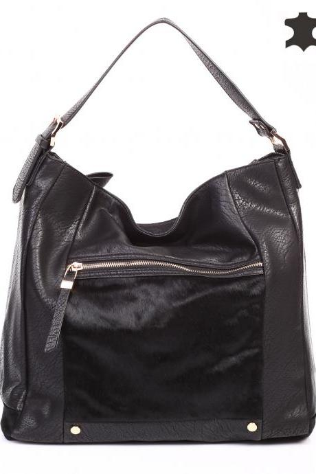 Black Leather Tote. Black Fur Tote. Black Leather Handbag. Black Hobo. Black Purse. Fashion Handbag.