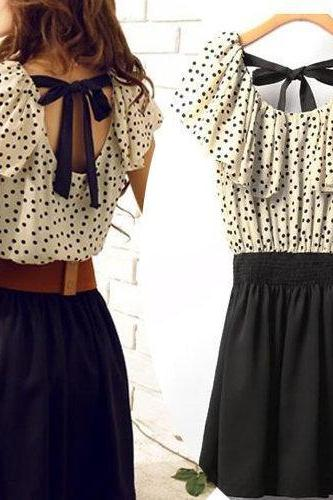 lovely dress with polla dot belt bow A 071119