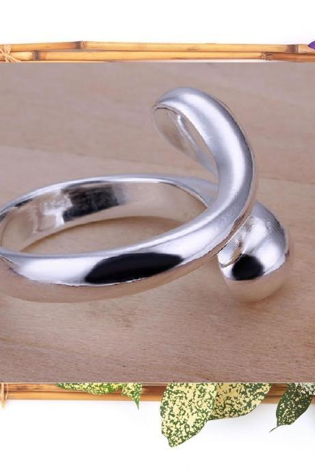 ♥ Silver Ring Double Round Head Ring- Opened ♥