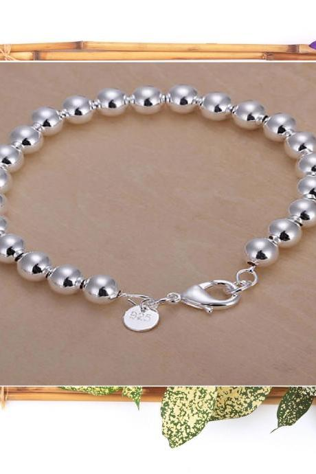 ♥ Silver Bracelet Fashion Jewelry Charm Circle 8mm ♥