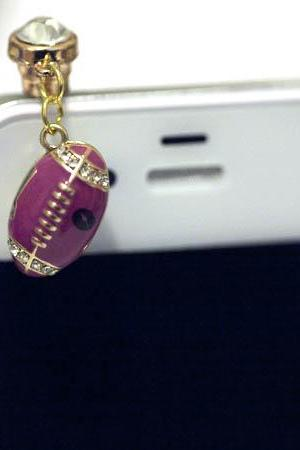 I Love Quarterback - PINK/PURPLE Diamond FOOTBALL Iphone Earphone Plug/Dust Plug - Cellphone Headphone Handmade Decorations