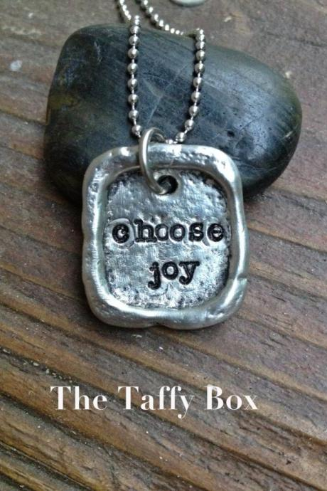 Choose Joy - Artisan Pewter Pendant Necklace