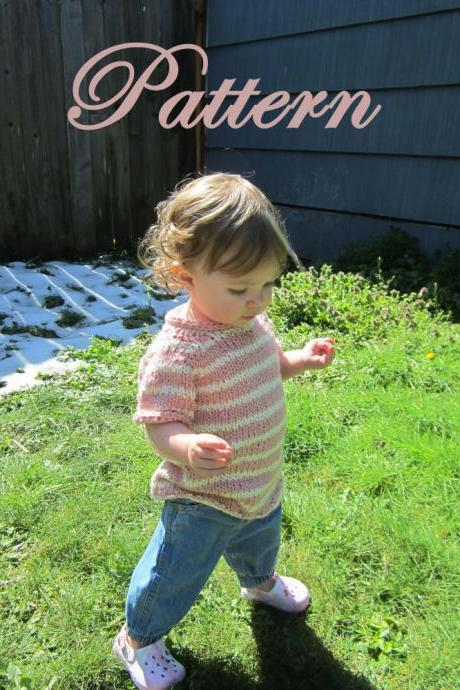 Little Raglan Tee, Knitting PATTERN, size toddler to 10