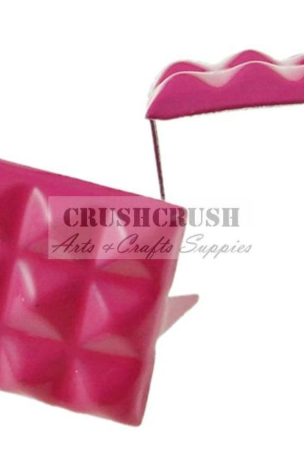 FREE SHIPPING--50pcs 12mm Hot Pink Pyramid Studs Claw Spikes Nailheads S305