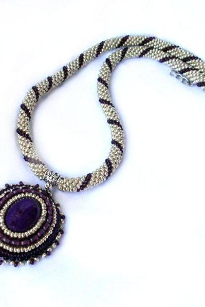 Crochet beads rope- necklace gold and purple with vintage style pendant