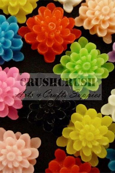 35pcs Square FLOWER Blossom Bloom Flora Flat Back Cabochons F781