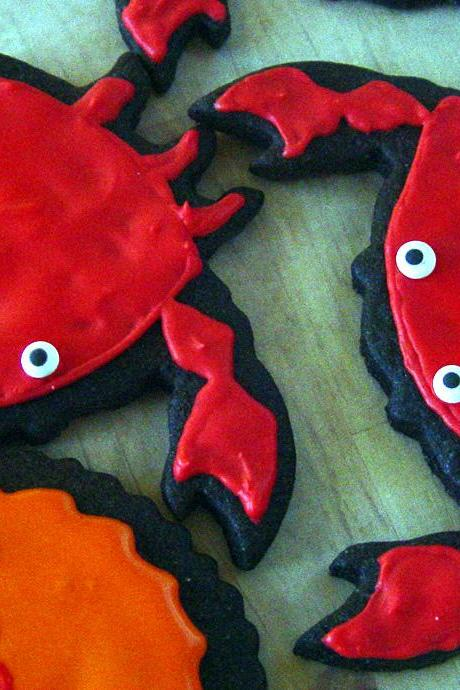 One Dozen Decorated Crab Cookies w/ tags ('You've got crabs', for college student 'You're bound to get crabs,may as well be cute cookie')