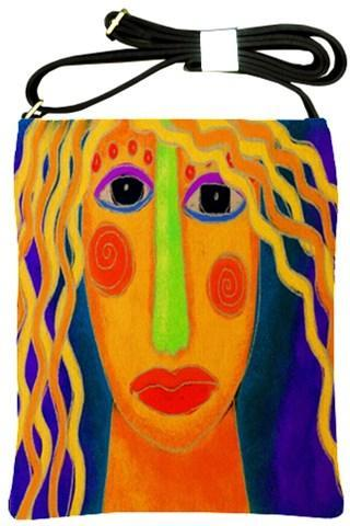 Colorful Abstract Digital Painting of a Woman on Shoulder Sling Handbag Purse