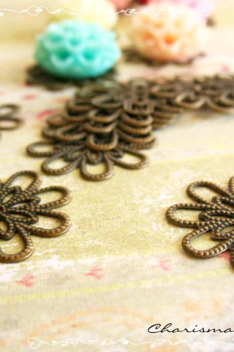 6 Brass Vintage Filigree Caps - Connectors Findings Flower, 18mm