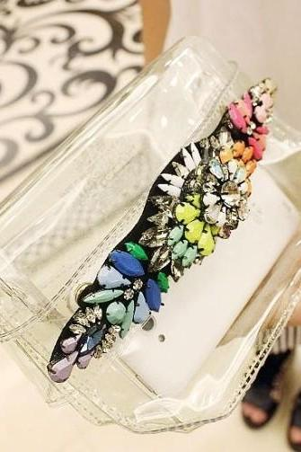 HOT shourou Style Clear box Multicolour Diamante Gem Crystal Rainbow PVC bag