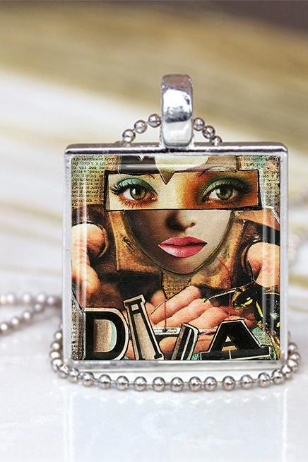 Dada Art Glass Pendant, Dada Necklace,Dada Art Charm, Art Necklace, Dada Art jewelry, Art Pendant