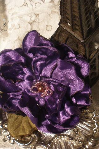 Satin Purple Cabbage Rose intricately beaded Brooch Pin
