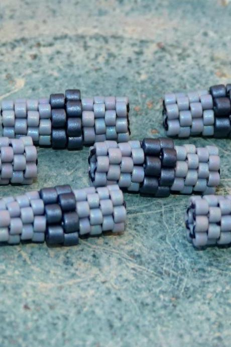Rainy Mood Beaded beads. Grey Black Handmade tube (6) Jewelry Making Supplies