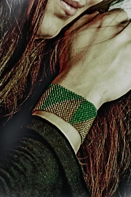 Tribal Primitive Pattern. Bamboo Yellow Green Beadwoven Cuff/ Bracelet. Spring fashion jewelry