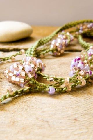 Spring fashion Honeysuckle green pink crochet beaded strand. Versatile necklace / wrap bracelet / anklet / headband/ belt.