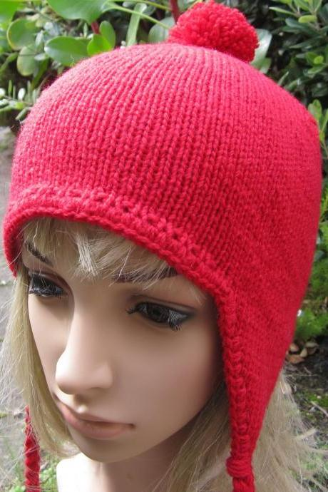 Aviator Hat Earflap Beanie - red - made to order