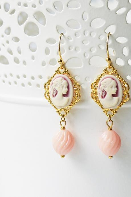 Victorian Style Cameo Earrings Pastel Pink Lady Cameo Gold Filigree Dangle Earrings