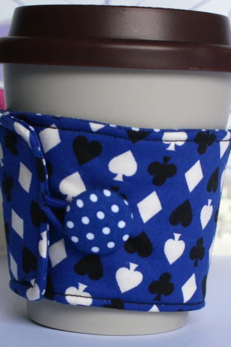 Eco friendly Blue card suit coffee cozy