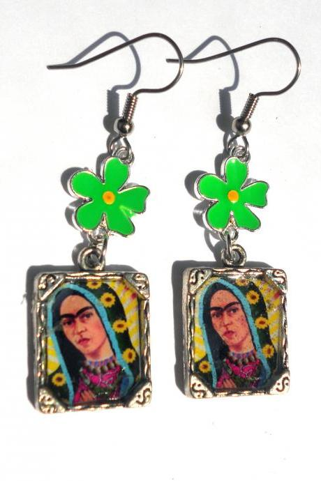 FRIDA KAHLO MEXICAN FOLK ART VIGIN OF GUADALUPE PHOTO FRAME EARRINGS