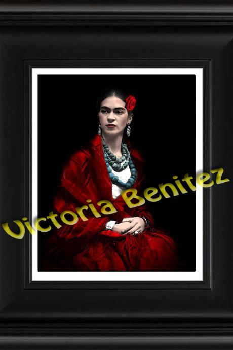 "FRIDA KAHLO day of the dead red rose and callas digital oil painting design 8"" X 10"" photo print"