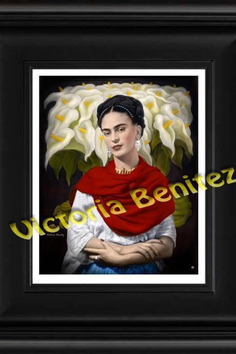 FRIDA KAHLO mexican folk art rebozo rojo and callas digital oil painting design 8' X 10' photo print