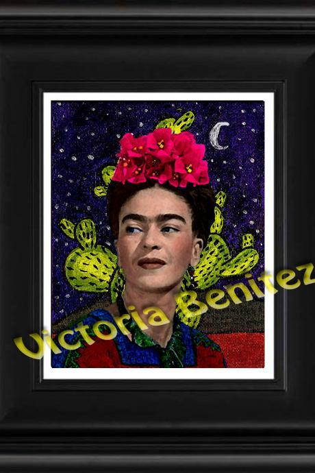 FRIDA KAHLO day of the dead BUGAMBILIAS digital oil painting design 8' X 10' photo print