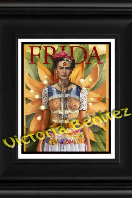 FRIDA KAHLO day of the dead SUNFLOWER digital oil painting design 8' X 10' photo print