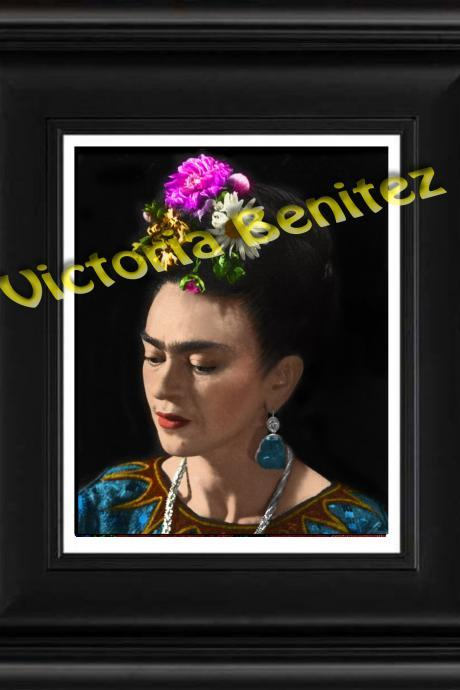 FRIDA KAHLO day of the dead PRETTY digital oil painting design 8' X 10' photo print