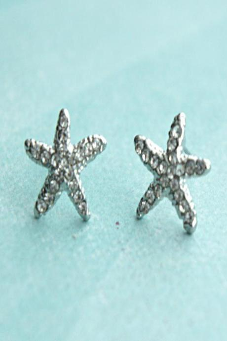 crystal starfish earrings