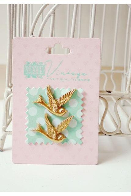 Gold Resin Bird Cabochon Embellishment