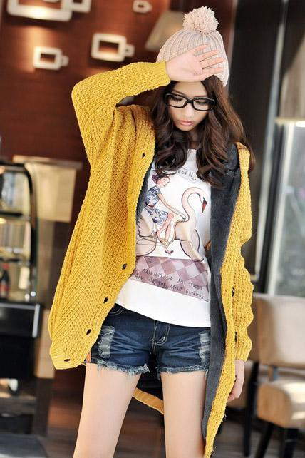 Free Shipping Long Sleeve Knitting Wool Sweater Coat - Yellow