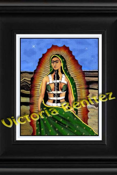FRIDA KAHLO day of the dead BROKEN COLUMN digital oil painting design 8' X 10' photo print