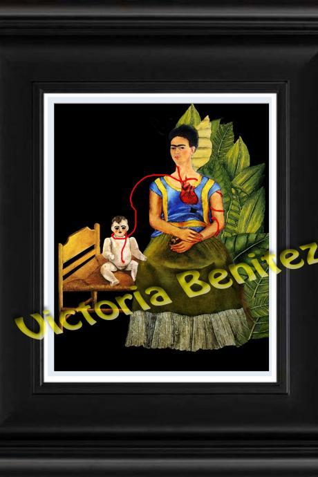 FRIDA KAHLO day of the dead DOS FRIDAS digital oil painting design 8' X 10' photo print