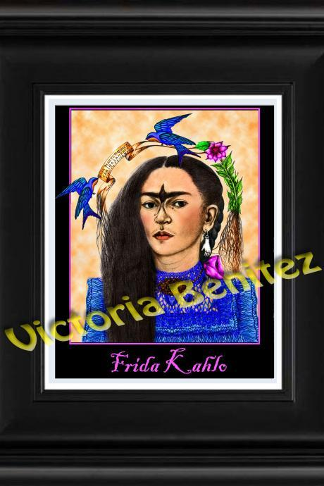 FRIDA KAHLO day of the dead BLUE BIRD digital oil painting design 8' X 10' photo print