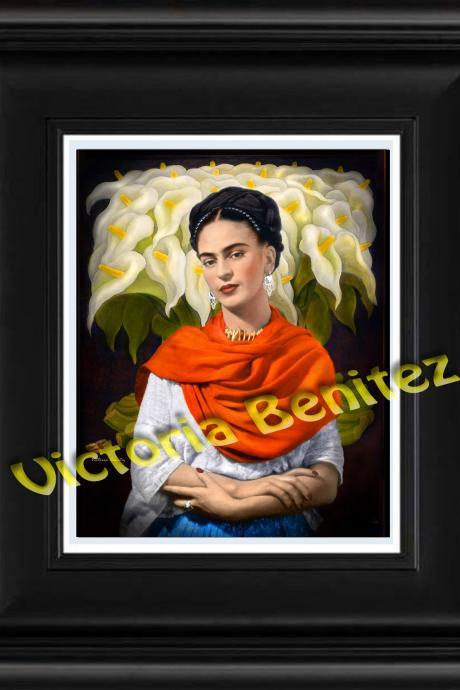 FRIDA KAHLO day of the dead CALLA LILIES ORANGE digital oil painting design 8' X 10' photo print