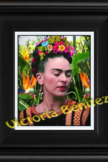 FRIDA KAHLO day of the dead EN EL JARDIN digital oil painting design 8' X 10' photo print