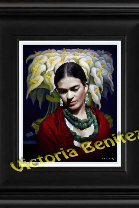 FRIDA KAHLO day of the dead REBOZO ROJO digital oil painting design 8' X 10' photo print